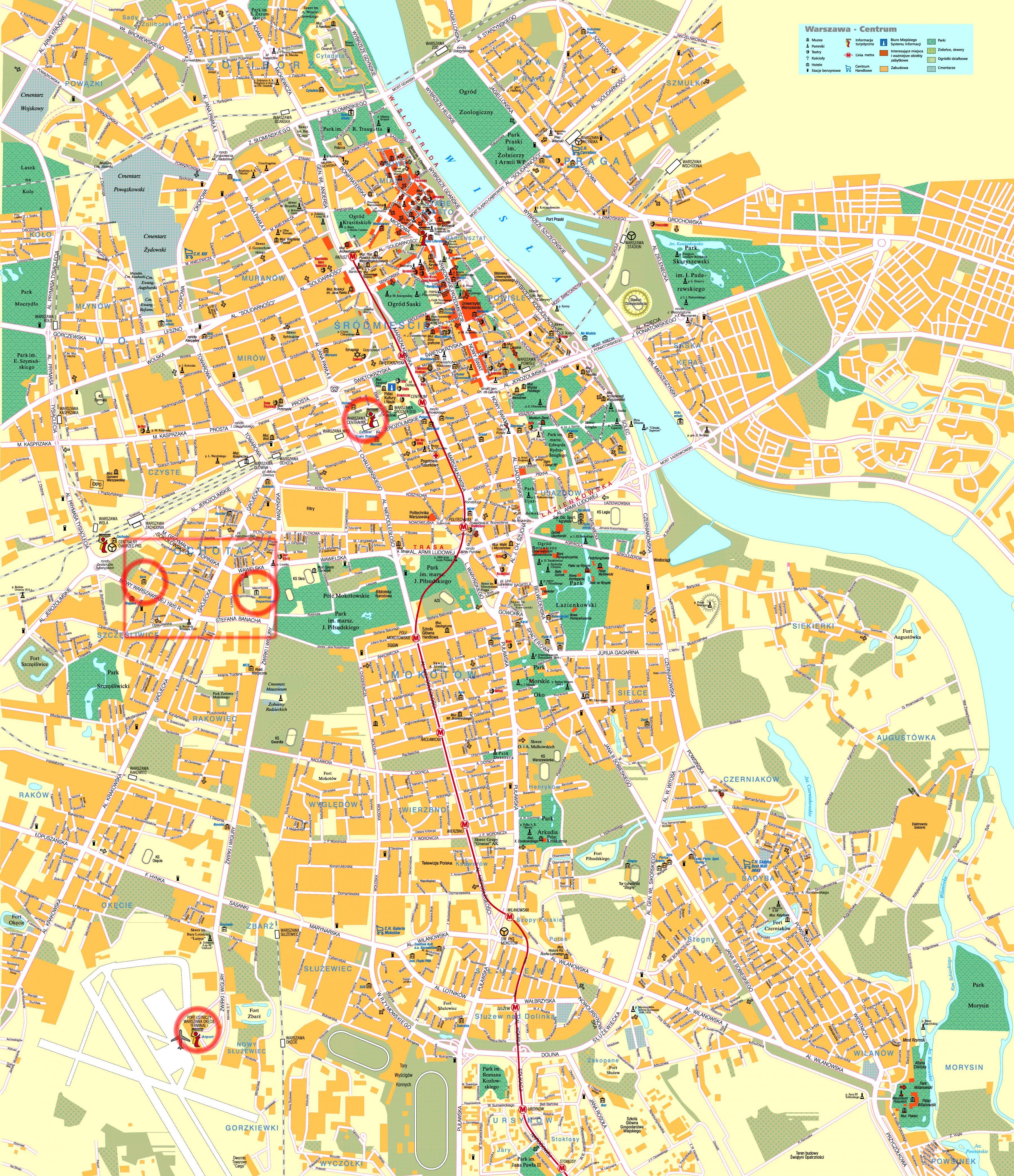 Varsovan Street Map Street Kartta Varsova Puola Masovia Puola