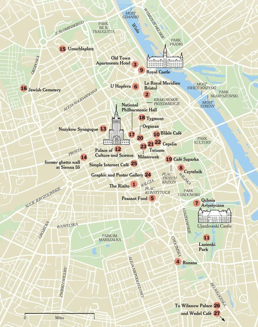 Varsovan Turisti Kartta Kartta Varsova Kanssa Nahtavyydet